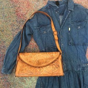Vintage boho urban Tooled leather camel purse bag